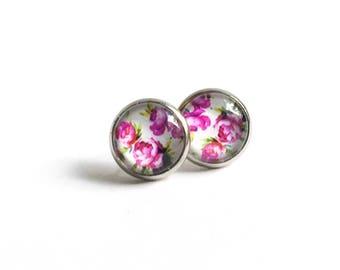 Clous d'oreilles à fleurs roses, Boucles d'oreilles à clous, Boucles d'oreilles roses, Acier inoxydable, Boucles d'oreilles fleuries