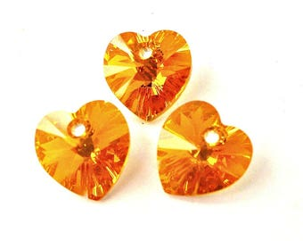 3 topaz AB 10mm Swarovski crystal heart pendants, small topaz AB hearts, 3/8 inch