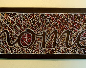 HOME Sign - Modern String Art Wooden Tablet - cursive