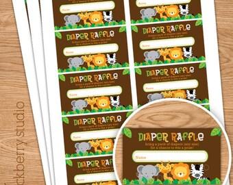 Safari Jungle Baby Shower Diaper Raffle Ticket - Instant Download - Gender Neutral Diaper Raffle Tickets - Baby Shower Games Printable
