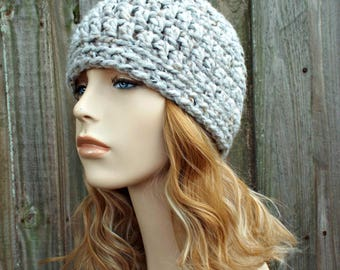 Tweed Grey Marble Beanie - Grey Crochet Hat Grey Womens Hat Grey Mens Hat - Grey Beanie Warm Winter Hat - READY TO SHIP
