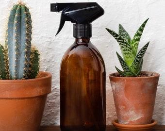 Set Of Two Amber Brown Glass Bottle Trigger Sprayer Dispenser Bottle