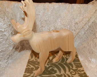 Sale......Large hand carved Wooden Reindeer/ Moose with drilled hole in top for Candle Holder, Reindeer, handmade, wood crafts, wood figure