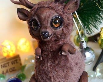 Deer art doll art toy handmade ooak Fantasy Creature
