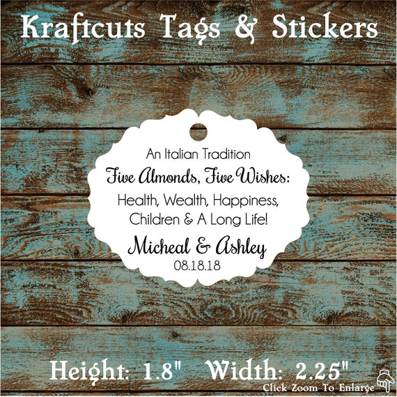 Italitan Wedding Favor Tags, Jordan Almond Favor Tags, Sugared Almond Favor Tags, Five Wishes Poem Favor Tags #656 Qty: 30 Tags