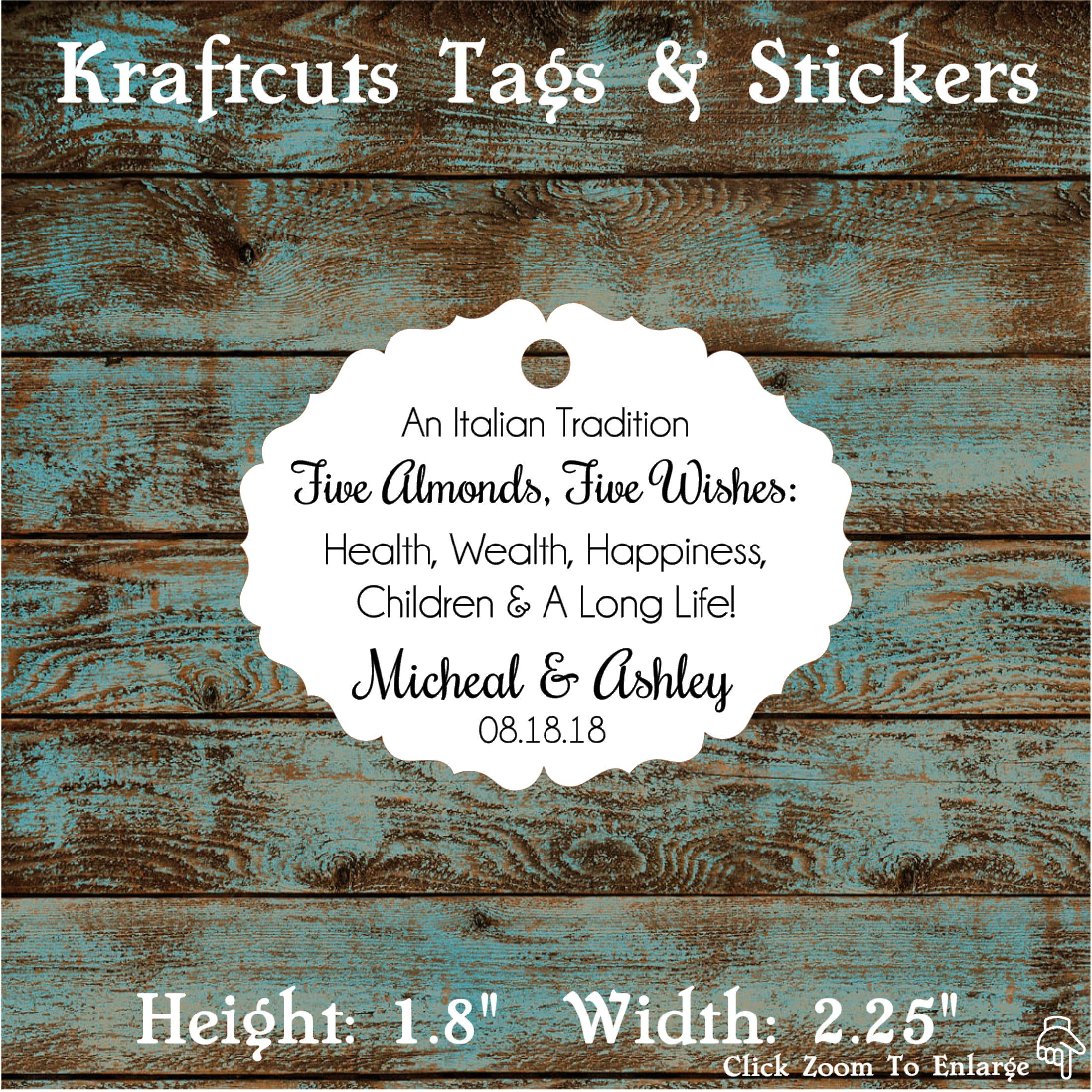 Italitan Wedding Favor Tags, Jordan Almond Favor Tags, Sugared ...