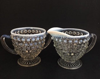 Anchor Hocking Opalescent Moonstone Sugar And Creamer Set