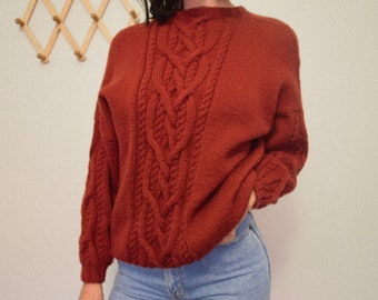 Vintage Hand Knitted Chunky Rust Jumper
