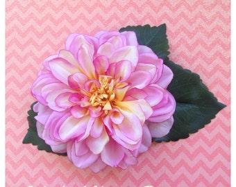 Rockabilly Flower Pin Up Hair Flower Bridal Hair flower Pinup Flower floral Headpiece Flower Fascinator Rockabilly Wedding Pink Flower
