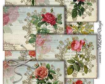 Roses - Vintage roses - Printable Gift Tags - Digital Roses Cards - digital collage sheet - printable download - set of 8