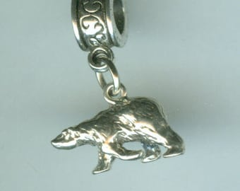 Sterling Silver POLAR BEAR Bead Charm for All Name Brand Add a Bead Bracelets - 3D Heavy - Wildlife, Totem