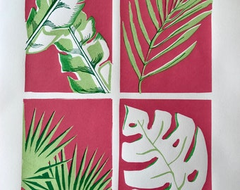 Limited edition silk screen print - Tropical Plants