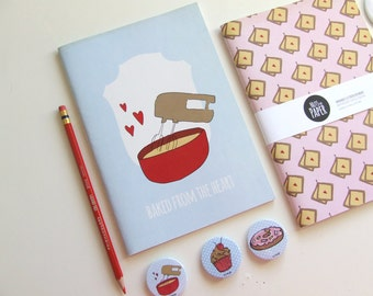 Baked from the Heart - Blank A5 Notebooks - Journal