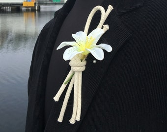Overhand Knot Nautical Rope Boutonniere Tied with Braided Cotton Rope