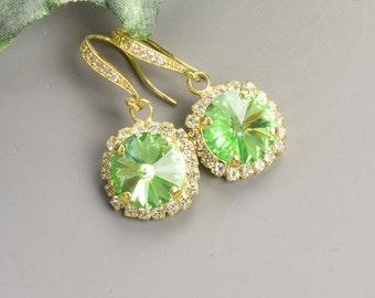 Peridot Earrings - Swarovski Earrings - Green Earrings - Gold Plated Earrings for Women - Bridesmaids Earrings - Bridesmaid Jewelry