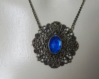 Bronze blue steampunk victorian pendant necklace
