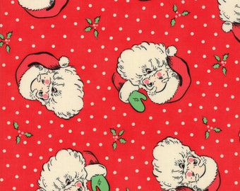 Swell Christmas by Urban Chiks for Moda, #31120-13, Red Santa, Vintage Santa, Christmas Fabric, Holiday Fabric, Christmas in July, IN STOCK