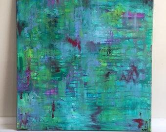 "Medium Abstract Painting Original Acrylic Art ""Move and Stay Still"""