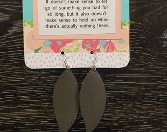 Pewter Leaf Earrings