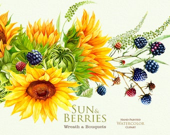 Sunflower with Blackberry, Watercolor Wreath & Bouquets. Bohemian Boho Flowers. Hand Painted Wedding Clipart. Digital invitations.
