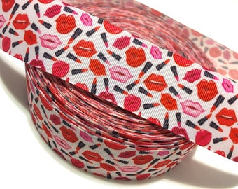 Lipstick Ribbon, Lips Grosgrain Ribbon, Red Lips Ribbon, Kissable Lips Ribbon, Cosmetics Ribbon, Lipstick Printed ribbon