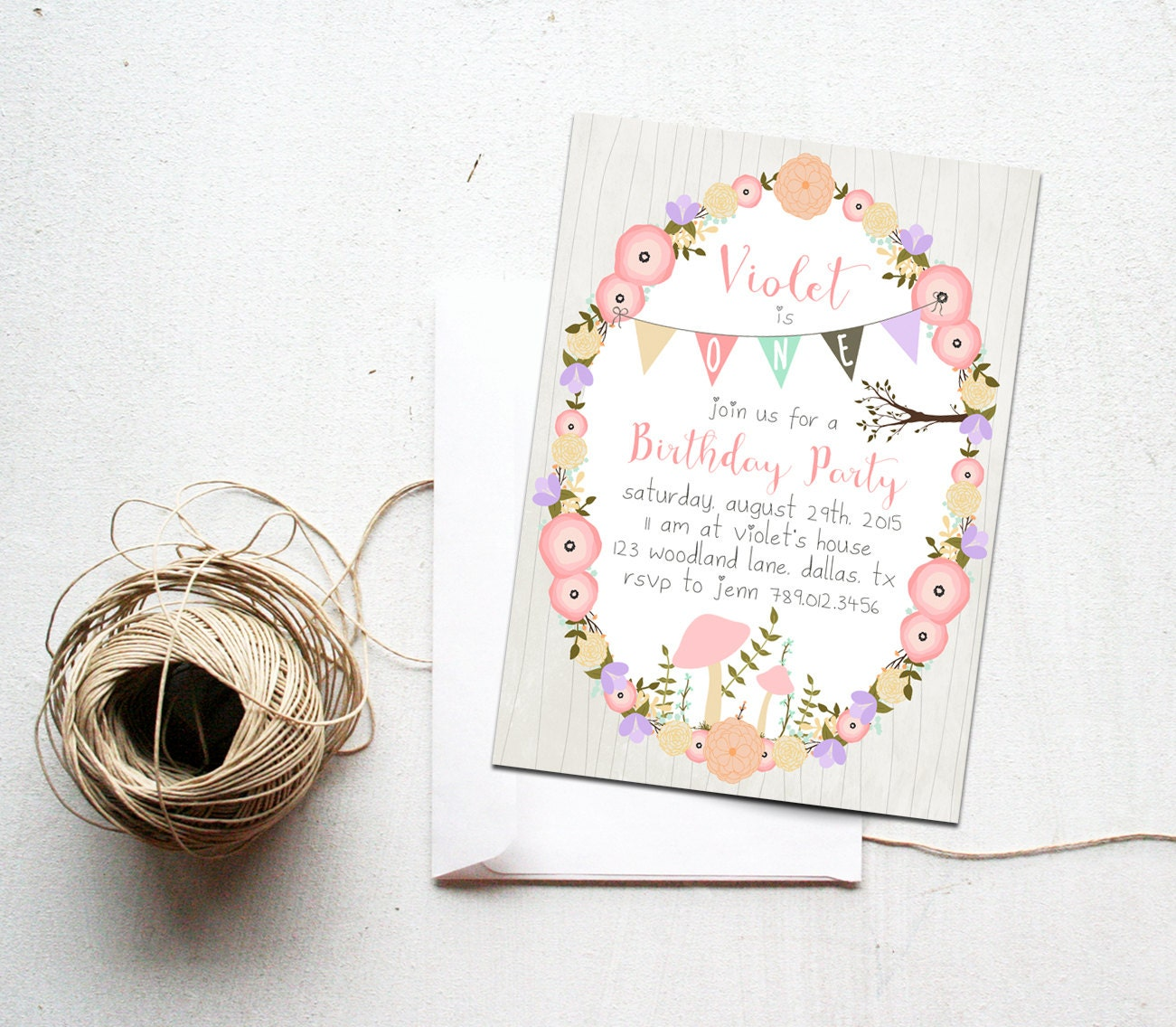 Woodland Girl Birthday Party Invitation Printable Download