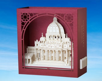 Saint Peter's Basilica, Papal Basilica of St. Peter in the Vatican, Basilica Papale di San Pietro in Vaticano miniature paper pop up 3d card
