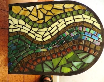 Mosaic Mailbox swirly brown and green