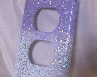 Light Pastel Turquoise & Purple Ombre with Holographic Glitter /Sparkle Bling Light Switch Plates, Outlet Covers /Kawaii Decor /Nursery Room