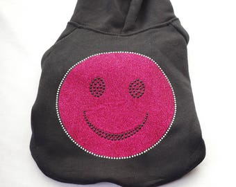 Pink Happy Face Rhinestone Dog Hoodie
