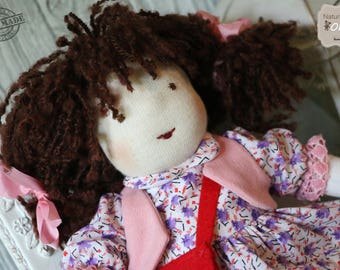 Waldorf  ' Katy ' Doll _ natural materials _ first doll _ toddler toy _ soft toy _ (12+ month) _ sensory toy _  baby toy _ rug doll .