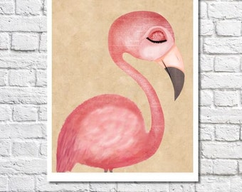 Flamingo Print Pink Flamingo Art Print Pink Flamingo Decor Flamingo Gift Flamingo Nursery Art Flamingo Wall Art Girls Room Flamingo Picture