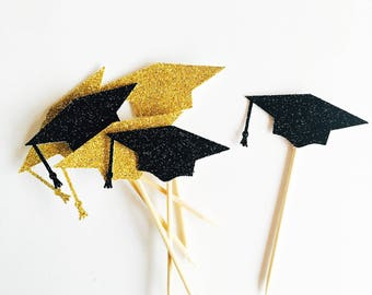 Graduation cupcake toppers  black gold glitter cupcake toppers graduation topper, end of the year, 2017 grad toppers, gold flag topper, part