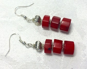 Red Coral and sterling silver dangle earrings