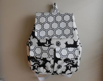 Black and White Flowered A-Shaped Backpack