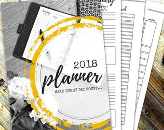 2018 DIARY PRINTABLES - Printable planner pages - Instant Download - 126 page pdf - A4 - A5 - Letter - Half