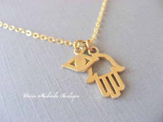 Hamsa necklace with evil eye pendant gold necklace aloadofball Choice Image