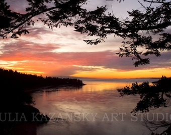 Sunset Deception Pass photo Fine art photography West coast photography Pacific Ocean landscape photo Pacific Northwest photography print