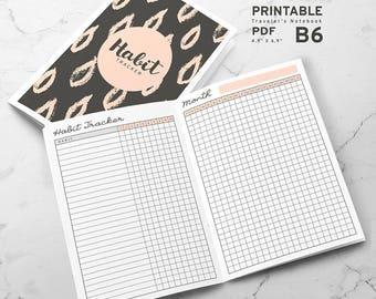 Printable Habit Tracker B6 Traveler's Notebook Inserts, B6 Habit Tracker Inserts, Printable B6 Travelers Notebook inserts, PDF file
