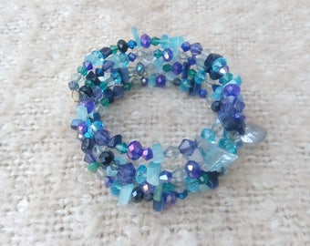 Shades of the Ocean Blue Beaded Memory Wire Bracelet - Bangle