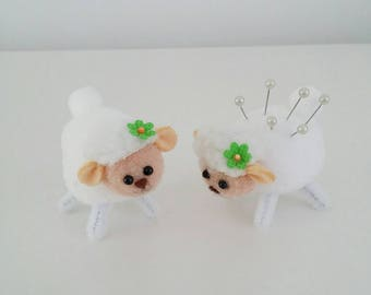 Sewing pin cushion easter lamb  easter gift or birthday present very cute
