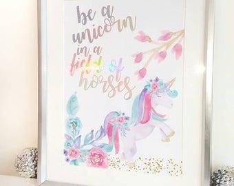 Unicorn art, unicorn print, foil print, rainbow print, unicorn gift, foil art, foil print, wall art, wall print, Inspirational quotes,