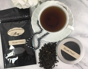 Black Pearl Gunpowder Loose Leaf Black Tea 1 oz Tin or Pouch