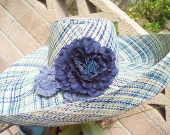 Mix of Denim Blue Plaid Linen Straw Sun Hat