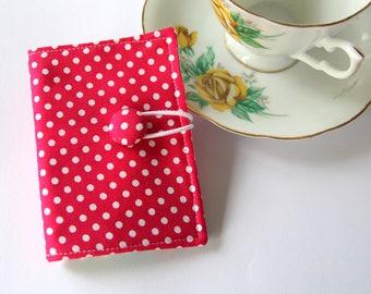 Tea Bag Wallet, Tea Wallet, Tea Bag Holder, Tea Organizer, Tea Bag Caddy, Card Holder, Tea Bag Carrier, White Polka Dots on Pink,
