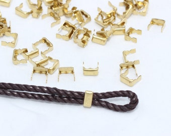 50 Pcs Inner 5mm Raw Brass Crimp Beads , Crimp Covers - Raw Brass tip - cord tip- cord end , CR32