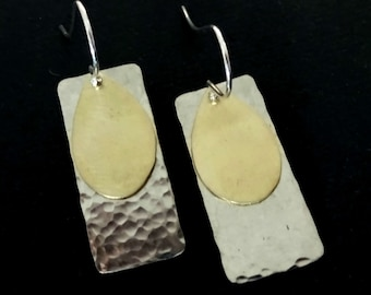 Silver And Gold Earrings Geometric Dangle Drop Metalwork Handcrafted Hand Hammered  Mixed MetalGift For Her Handmade Jewelry Greek Jewelry