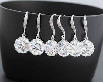 10 pairs of round earring 10 zirconia earring bridesmaid earring drop earring