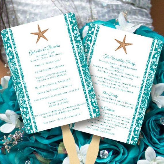 fan wedding programs beach starfish jade