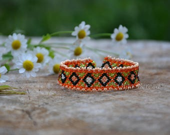 Red bracelet Ukrainian bracelet Bracelet beads Ukrainian Native Ukrainian Jewelry womens Orange beads bracelet